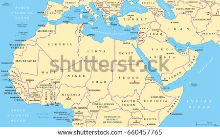 North Africa Middle East Political Map Stock Vector Royalty Free