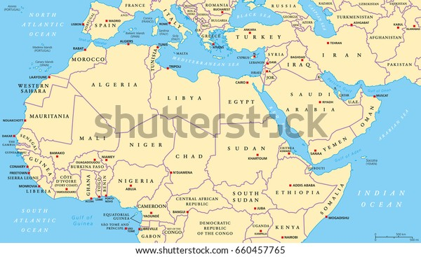 North Africa Middle East Political Map Stock Vector (Royalty ... on lake chad map, berber people, horn of africa, north america, tunisia map, mediterranean sea, western europe, sub-saharan africa, south asia, middle east, sub saharan map, europe map, egypt map, england map, angola map, central asia, france map, southeast asia, east asia, nigeria map, middle east map, italy map, western sahara, south africa, central africa, israel map, west africa, eurasia map, somalia map, southern africa, east africa, djibouti map, maghreb map, tanzania map, atlas mountains, darfur map, russia map, central america, caribbean map,
