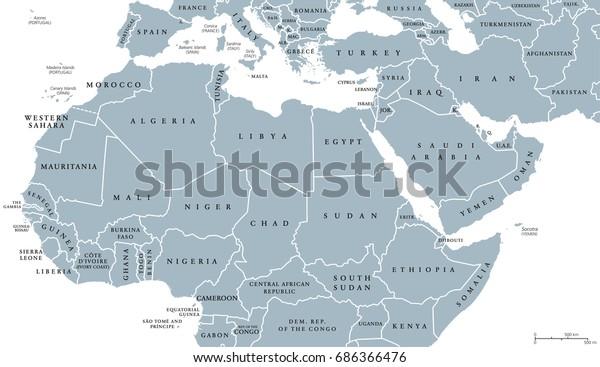 Pohjois Afrikka Ja Lahi Idan Poliittinen Kartta Maiden