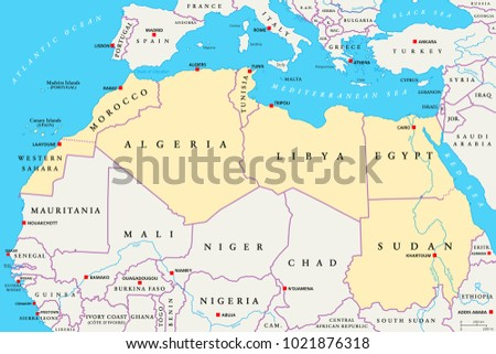 North Africa Region Political Map Yellow Stock Vector Royalty Free