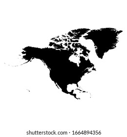 North America black silhouette. Contour map of continent. Simple flat vector illustration.