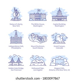 North America city landmarks. Hollywood, Golden Gate Bridge, Philadelphia, USA vacation travel destinations thin line icons set. Famous buildings sights isolated linear vector illustrations