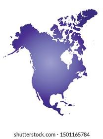 North America colorful vector map silhouette
