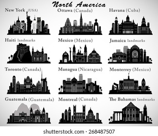 North America countries landmarks and cities skylines set