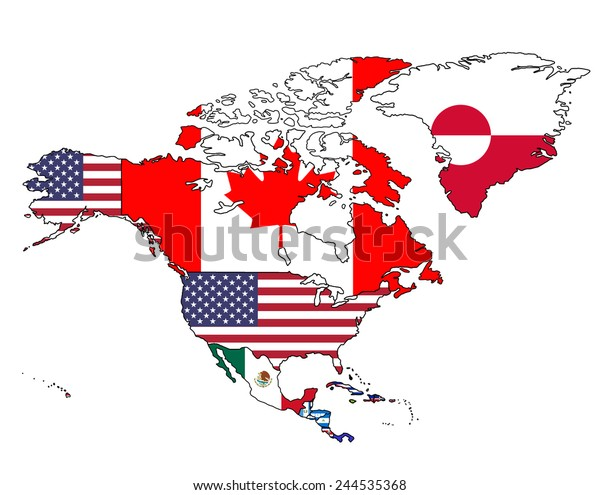 North America Flag Map Map All Stock Vector Royalty Free 244535368