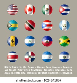 North America flags. Glossy round button flag set. Vector illustration.