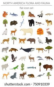 North America flora and fauna flat elements. Animals, birds and sea life big set. Build your geography infographics collection. Vector illustration