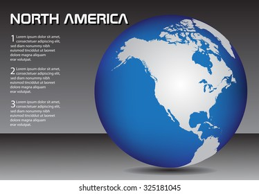 North America globe. Earth globe vector.