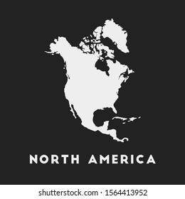 North America icon. Continent map on dark background. Stylish North America map with continent name. Vector illustration.