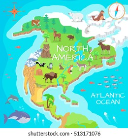 North America isometric map with flora and fauna. Cartography concept with nature. Geographical map with local fauna. North America continent with mammals and sea life. Vector illustration for kids