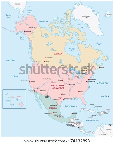 Free North America Map.North America Map Stock Vector Royalty Free 174132893 Shutterstock