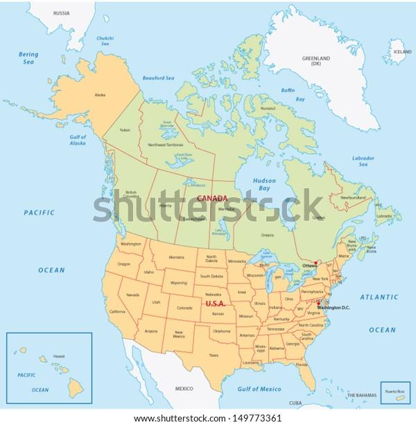 Pohjois Amerikan Kartta Arkistovektori Rojaltivapaa 149773361