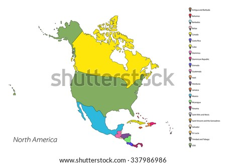 north america map countries stock vector royalty free 337986986