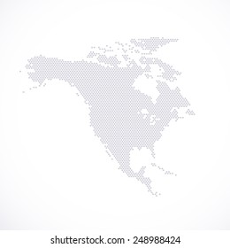 North America Map hexagon . Vector illustration.