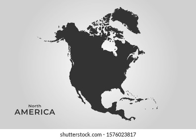 north america map icon. isolated vector silhouette image of western world continent