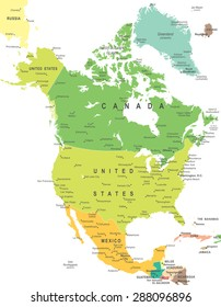 North America - map - illustration