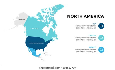North America map infographic. Slide presentation. Global business marketing concept. Color country. World transportation data. Economic statistic template.