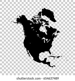 North America map isolated on transparent background. Black map for your design. Vector illustration, easy to edit.