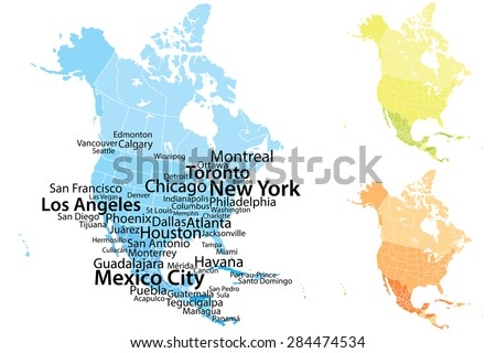Cities Of America Map.North America Map Largest Cities Carefully Stock Vector Royalty