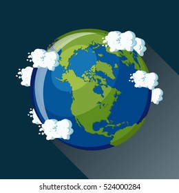 North America map on planet Earth, view from space. North America globe icon. Planet Earth globe map with blue ocean, green continents and clouds around. Cartoon style  flat vector illustration.
