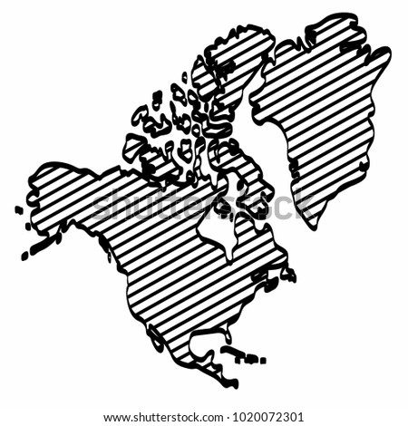 North America Map Outline Graphic Freehand Stock Vector (Royalty ...