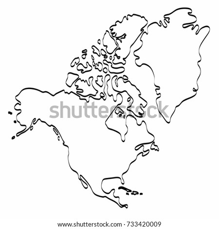 North America Map Template.North America Map Outline Graphic Freehand Stock Vector Royalty