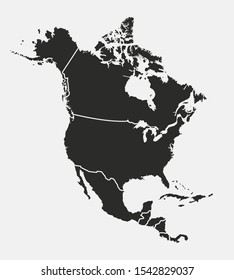 North America map with regions. USA, Canada, Mexico maps. Outline North America map isolated on white background. Vector illustration