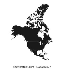 North America map with regions. USA, Canada, Mexico maps. Outline North America map isolated on white background.