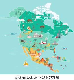 North America Map. Tourist and travel landmarks, vector illustration.