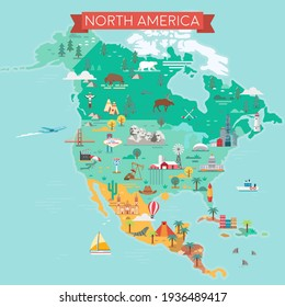 North America Map. Tourist and travel landmarks, vector illustration.
