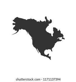 North America map vector icon. Flat design eps10