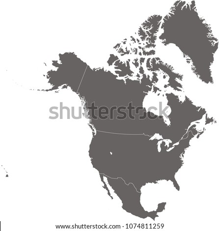 American Map Vector.North America Map Vector Outline Illustration Stock Vector Royalty