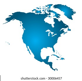 North America in one piece (Vector Art)  Gradient can be modified for any effect desired!