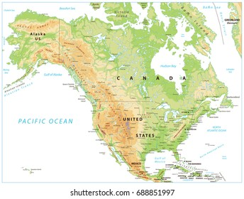 North America Physical Map Vintage Color Stock Vector (Royalty Free ...