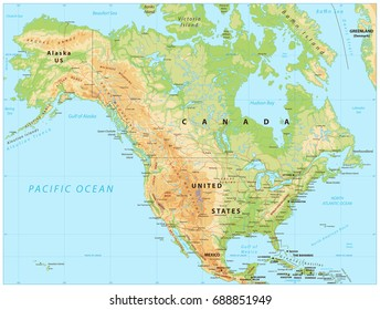 Usa Relief Map Stock Vectors Images Vector Art Shutterstock
