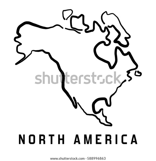 North America Simple Map Outline Smooth Stock Vector (Royalty Free ...