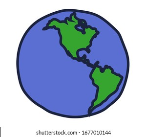 North America and South America on a white background. Symbol. Vector illustration.