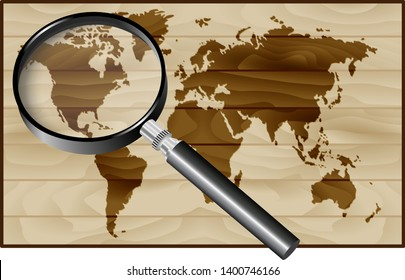 North America under the magnifier on Wooden texture background
