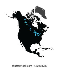North America vector Map isolated on white background. High detailed.