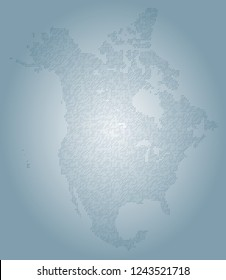 North america vector map made of blue slashes