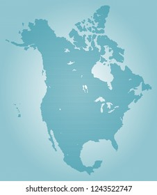 North america vector map made of turquoise high density dots