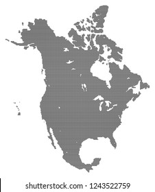 North america vector map made of black high density dots