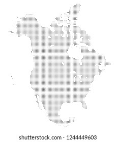 North america vector map made of black dots