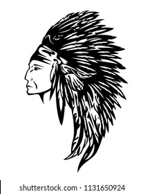 046dc63b0 north american indian chief wearing traditional feather headdress black and white  vector portrait