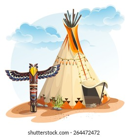 North American Indian wigwam with totem  for video web game user interface