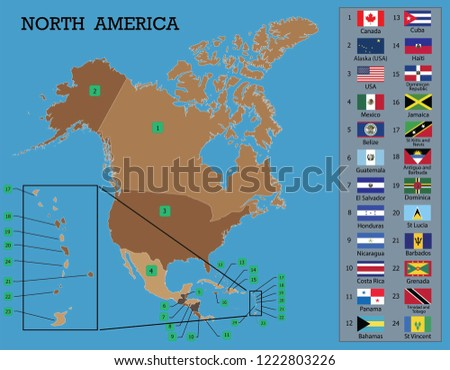 North American Map North American Countries Stock Vector Royalty