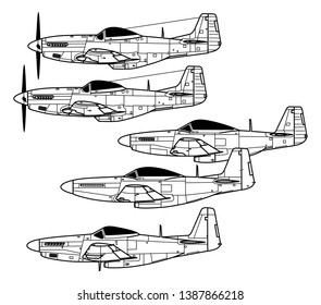 North American P-51 MUSTANG. Outline vector drawing