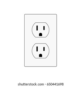 North American wall outlet vector illustration. Wall power socket.