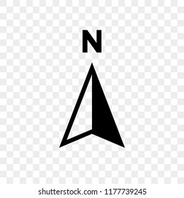 North arrow icon or N direction point symbol. Vector logo for GPS navigator map isolated on transparent background
