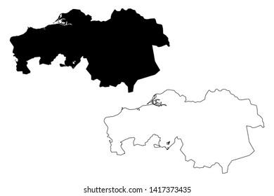 North Brabant province (Kingdom of the Netherlands, Holland) map vector illustration, scribble sketch Brabant map